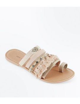 Nude Leather Embellished Tassel Strap Sandals by New Look