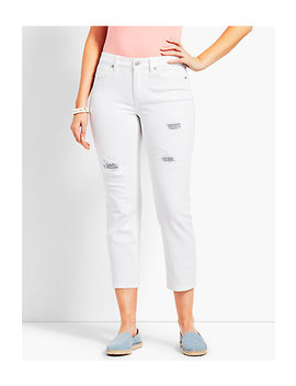 Patched Denim Straight Leg Crop   Curvy Fit by Talbots