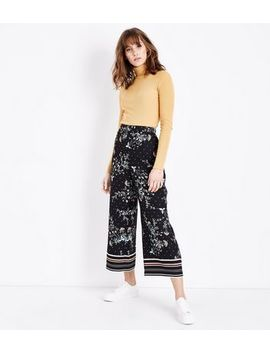 Black Floral Border Print Cropped Trousers by New Look
