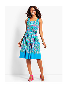Retro Paisley Fit And Flare Dress by Talbots