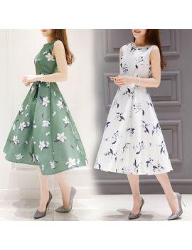 Floral Print Sleeveless A Line Dress by Shimi