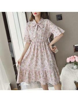 Short Sleeve Floral Print A Line Dress by Vanci