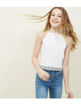 Teens White Crochet High Neck Cami by New Look