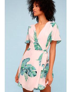 Villa Marie Blush Pink Leaf Print Short Sleeve Wrap Dress by Lulus