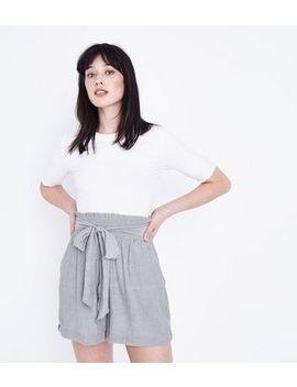 Grey Crinkle Tie Waist Shorts by New Look