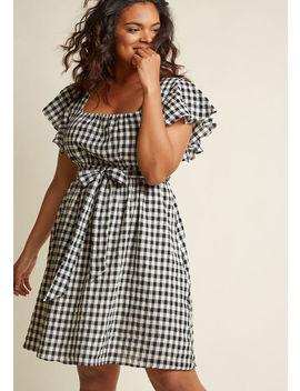 Flutter Sleeve Cotton A Line Dress With Pockets In Gingham In L Flutter Sleeve Cotton A Line Dress With Pockets In Gingham In L by Modcloth