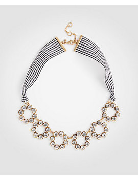 Circle Crystal Gingham Ribbon Necklace by Ann Taylor