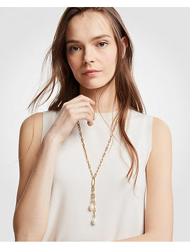 Double Pearlized Pendant Necklace by Ann Taylor