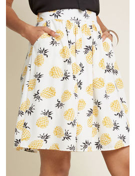 Casual Creativity Pocketed Skirt In Pineapples In S Casual Creativity Pocketed Skirt In Pineapples In S by Modcloth