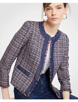 Petite Tweed Chambray Trim Open Jacket by Ann Taylor