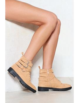 Strap To Attention Vegan Suede Boot by Nasty Gal