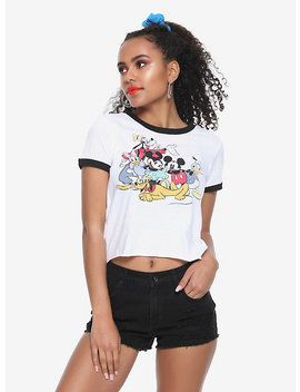 Disney Mickey Mouse &Amp; Friends Girls Ringer Crop T Shirt by Hot Topic