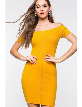 Button Down Off Shoulder Dress by A'gaci