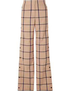 Louise Snap Fastening Checked Canvas Wide Leg Pants by Monse