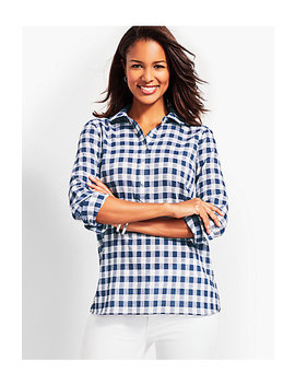 Dobby Popover Top Gingham by Talbots