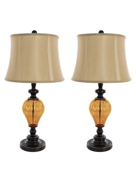Table Lamps Amber Glass Set Of 2 (2 Led Bulbs Included)   Yorkshire Home by Yorkshire Home