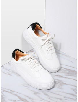 White And Black Pu Rubber Sole Low Top Sneakers by Sheinside