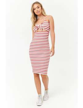 Striped Tie Front Midi Dress by Forever 21