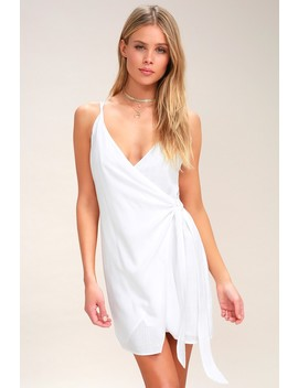 Heat Wave White Wrap Swim Cover Up by Lulus