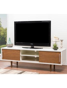Carson Carrington Sater White And Brown Tv Stand by Carson Carrington