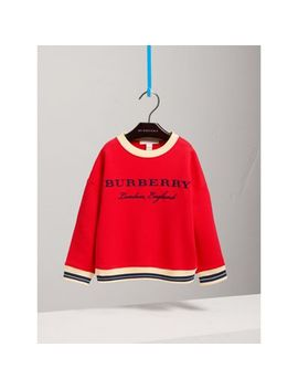 Striped Hem Embroidered Cotton Jersey Sweatshirt by Burberry