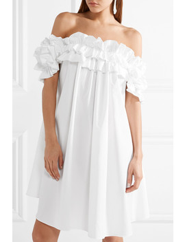 Ruffled Off The Shoulder Cotton Poplin Dress by Alexander Mc Queen