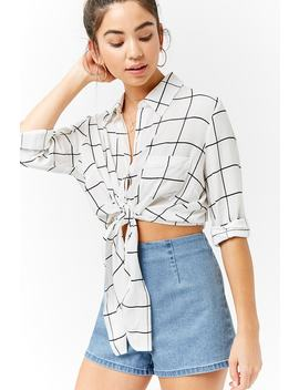 Tie Front Grid Shirt by F21 Contemporary