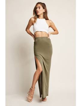 Side Ruched Maxi Skirt by Forever 21