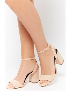 Faux Suede Open Toe Sandals by Forever 21