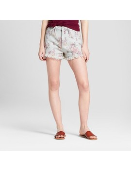 Women's Floral Print High Rise Jean Shorts   Mossimo Supply Co.™ Light Wash by Mossimo Supply Co.