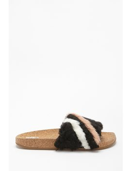 L4 L By Lust For Life Faux Fur Slides by Forever 21
