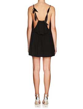 Feather Embellished Jersey Minidress by Saint Laurent