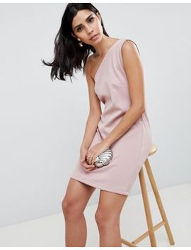 Asos Scuba One Shoulder Zip Side Mini Shift Dress by Asos Collection