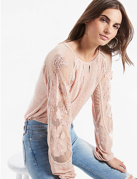 Lace Mix Embroidered Top by Lucky Brand