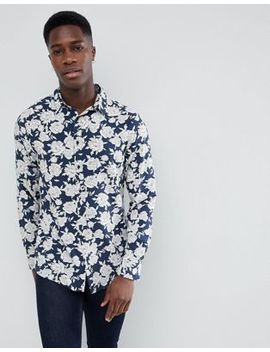 Stradivarius Flower Print Long Sleeve Shirt In Navy by Stradivarius