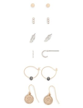 Set Of 6 Mix Metal Earrings by Topshop