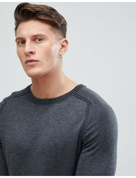 River Island Crew Neck Sweater With Ribbed Detail In Gray by River Island