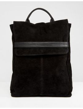 Asos Design Suede Belted Flap Backpack by Asos Design