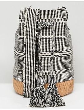 Pull&Bear Tassle Drawstring Bag In Gray by Pull&Bear
