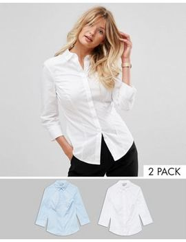 Asos Design Fuller Bust 3/4 Sleeve Shirt In Stretch Cotton 2 Pack Save 12 Percents by Asos Collection