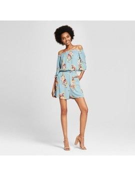 Women's Off The Shoulder Tiered Short Sleeve Floral Romper   Xhilaration™ by Xhilaration™