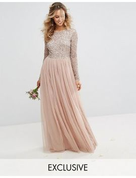 "<Font Style=""Vertical Align: Inherit;""><Font Style=""Vertical Align: Inherit;"">Maya   Long Sleeved Maxi Dress With Tulle Skirt And Filigree Sequin Embroidery</Font></Font> by  Maya"
