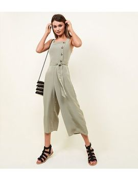 Khaki Asymmetric Button Front Jumpsuit by New Look