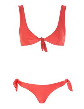Coral Tie Side Bikini Top And  Bottoms By Mink Pink by Topshop