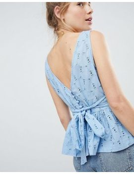 Asos Design Top With Pephem In Heart Broderie by Asos Design