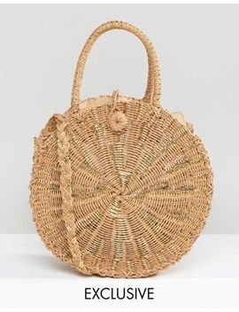 South Beach Round Gold Woven Straw Cross Body Bag by South Beach