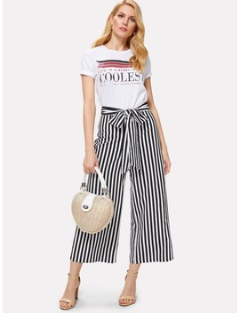 Self Belted Striped Wide Leg Pants by Shein