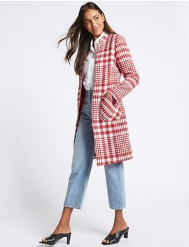 Checked Zipped Front Coat by M&S Collection
