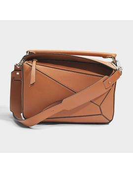 Puzzle Bag In Tan Calfskin by Monnier Frères