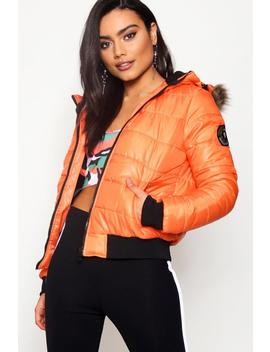 Charlotte Crop Padded Jacket With Faux Fur Hood by Boohoo